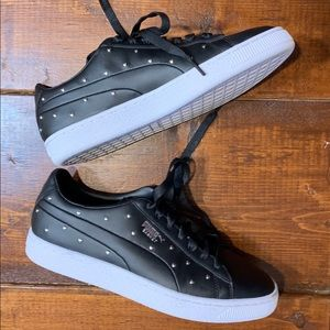 Puma Studded Hearts Black Leather Basket Sneakers